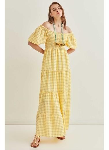 Vitrin Pötikare Gipeli Uzun Country Elbise Sarı